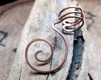 Swirl Ear Cuff - Cartilage Cuff - No piercing required - Copper Hoop Spiral Earring - Artisan Jewelry / Unisex Wrap Ear Cuffs / Earring Cuff