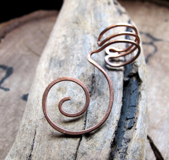 Swirl Ear Cuff - Cartilage Cuff - No piercing required - Copper Hoop Spiral Earring - Artisan Jewelry / Unisex Wrap Ear Cuffs / Earring Cuff
