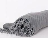 Gray Hamam Towel... NEW SPECIAL Peshtemal,Beach ,Pool,Bath