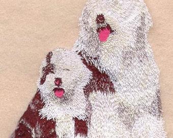 SHEEPDOG & PUPPY- Machine Embroidered Quilt Blocks (AzEB)