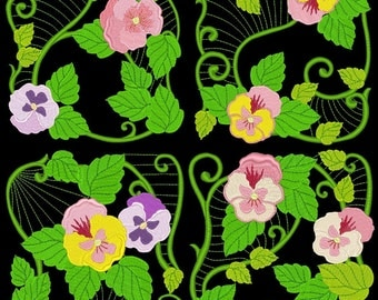 PANSY BLOCKS - 30 Machine Embroidery Designs Instant Download 4x4 5x7 6x10 hoop (AzEB)