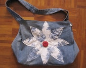 Blue and White Toile Patterned Denim Hip Bag