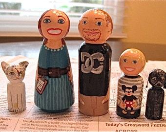Family Peg Dolls - Large Peg Doll Family of 7