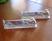 Vintage Chrome Set of 2 French Art Deco Hunters Knife Rests  Circa 1930s