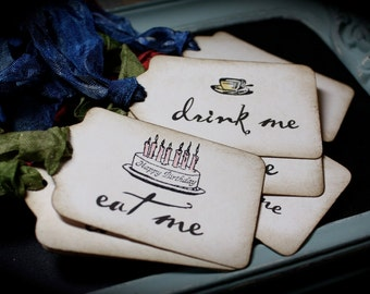 Alice in Wonderland EAT Me...DRINK Me tags for any occasion..set of 12