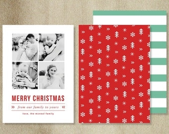 Sale! Holiday Card Templates for Photographers - INSTANT DOWNLOAD - Vertical Holiday Card Template - h0035