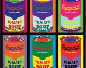 8 x 10 - Campbell's Soup Can POP ART PRINT - 6up