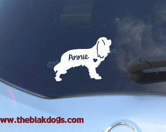 Cavalier King Charles Spaniel Silhouette Vinyl Sticker - personalized Car Decal