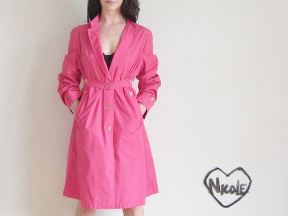london fog trench dress . watermelon pink coat .extra small.medium.large.xs .sale