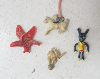 Celluloid Cracker Jack Charms, 1940s, Lot of 4