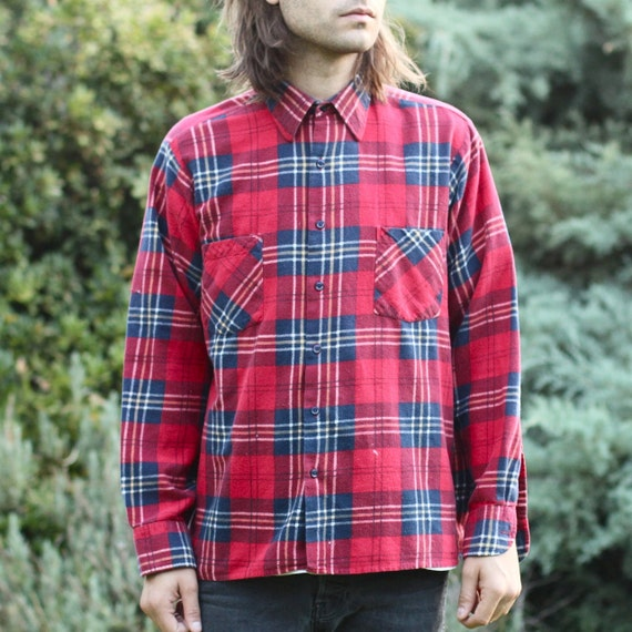 Classic Red Plaid Cotton Flannel - M