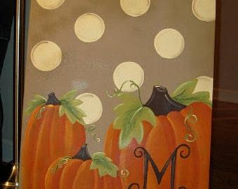 Family Pumpkin Fall Thanksgiving Halloween Canvas Sign