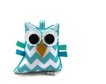 Plush Owl Chevron Rattle Softie Baby Toy Minky Zig Zag Aqua White