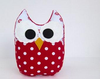 Stuffed Owl Toy Plush Mini Pillow Softie Red White Polka Dot Minky Ready to Ship
