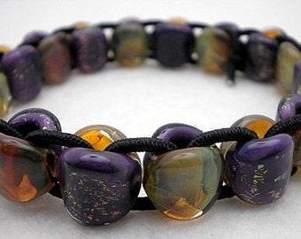 Sale / On Sale / Clearance Jewelry / Jewelry on Sale / Marked Down / Amethyst Boro Glass Stretch Bracelet (Approx Size 6.75) - WB00441