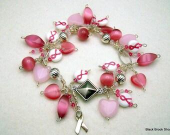 "Sale / On Sale / Clearance Jewelry / Jewelry on Sale / Marked Down / Pink Ribbon Charm Bracelet 9"" - AW00020"