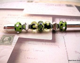 Green & Silver Gift Beaded Pen | Journal Beaded Pen | Journal Bead Pen | Lampwork Bead Pen | Metal Beaded Pen | Beaded Writing Pen - PN00004