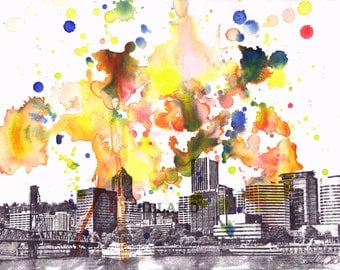 Portland Oregon Skyline Art from Original Watercolor Painting 8x10 in. Portland Art Poster Print Abstract Skyline Watercolor Painting