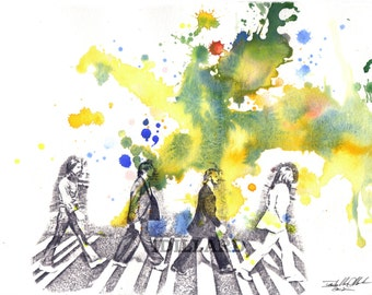 The Beatles Poster Print From Original Watercolor Painting  Abby Road Poster Print Beatles Art Music  Poster Music Art Pop Art Wall Decor