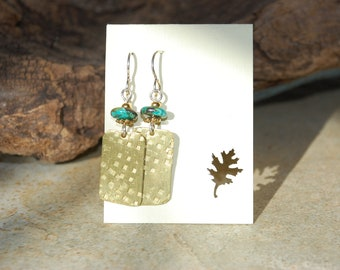 Textured Recycled Brass Earrings with brass beads as well as turquoise rondel  beads