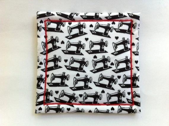 Coaster in Sewing Machine Fabric Made on Willcox & Gibbs Chain Stitch Machine, Signed