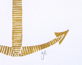 LINOCUT PRINT -  Minimal bronze anchor 8x10 Nautical