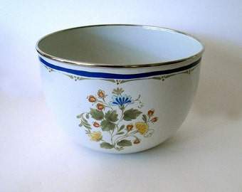 vintage late 70's stainless steel rimmed floral enamelware deep serving/mixing bowl