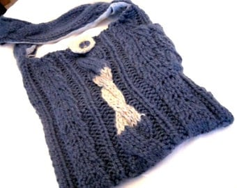 Ooak Chunky Funky Hand Knitted Blue Purse