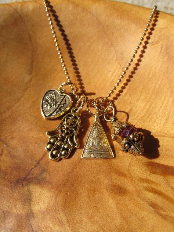 Buddha Blessing Necklace - Gold Tone Buddha Pendant with Hamsa, Heart Blessing and Topaz Crystal Dangle, Zen, Buddhism, Yoga Jewelry,Namaste