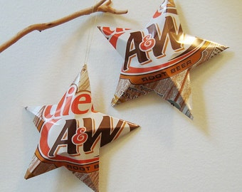 Diet A&W Root Beer Stars Ornaments  Soda Can Upcycled