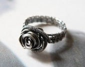 Silver Rose Ring, Sterling Silver Wire Wrapped Ring, OOAK Jewelry