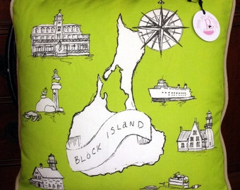 SALE Block Island RI Map Throw Pillow COVER 18inch (Lime with Soft Black)