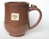 Bird mug in brick brown / red, IN STOCK