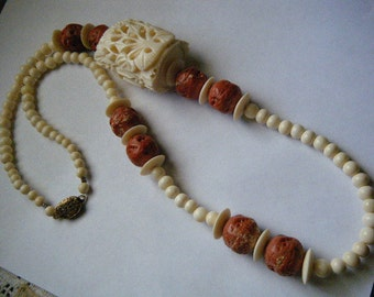 Vintage Necklace Bone Carved Exotic