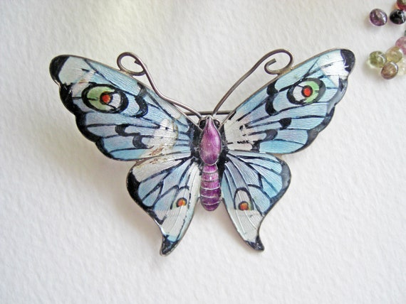 Circa 1910 sterling silver and enamel butterfly brooch