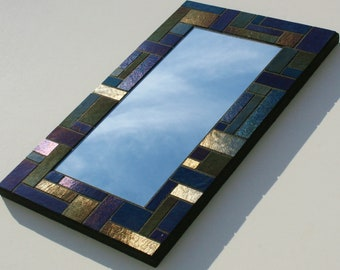 "Iridescent Mosaic Mirror made with Bullseye Stained Glass 9"" x 14.5"""