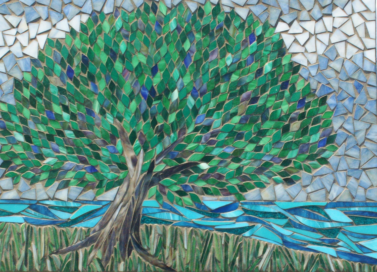 somewhere only we know stained glass mosaic tree