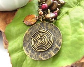 Tribal purse bag charm freshwater pearls circle UK seller