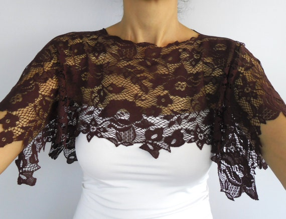 Lace Top Capelet, Dark Burgundy Shrug. Handmade and Unique Design