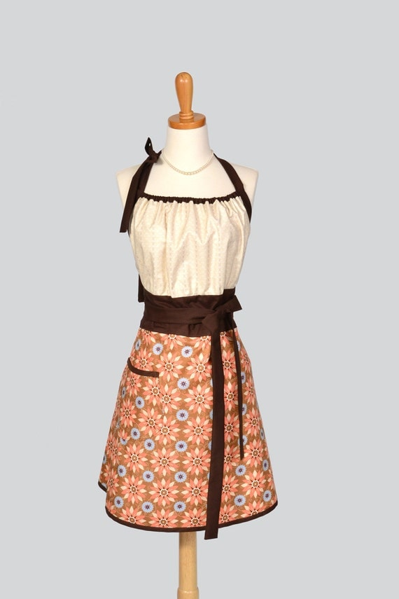 Cute Kitsch Reto Apron . Full Kitchen Womens Apron Handmade in Geometric Floral in Fall Autumn Thanksgiving olors