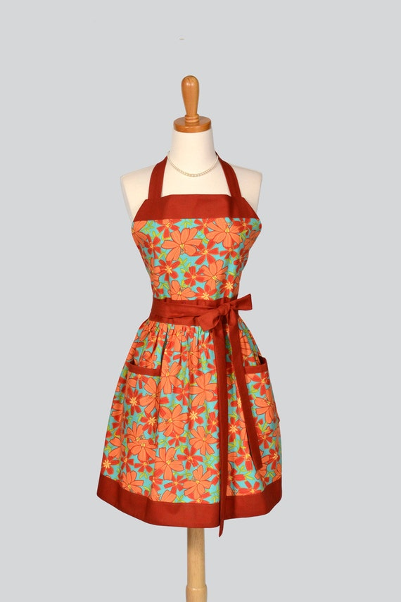 Womens Bib Full Apron / Retro Womens Handmade Kitchen Apron Autumn Shades of Rust and Turquoise Perfect for the Fall Holiday Season