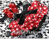 Love that Minnie Bloomer Set- Red and white polka dot Ruffle Bum Satin Bloomer With Big Boutique Miss Mouse Bow-Photo Prop-Halloween Costum