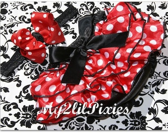 Minnie mouse Bloomer and Bow- Red and white polka dot Ruffle Bum Satin Bloomer With Big Boutique Miss Mouse Bow-Photo Prop-Magical vacation