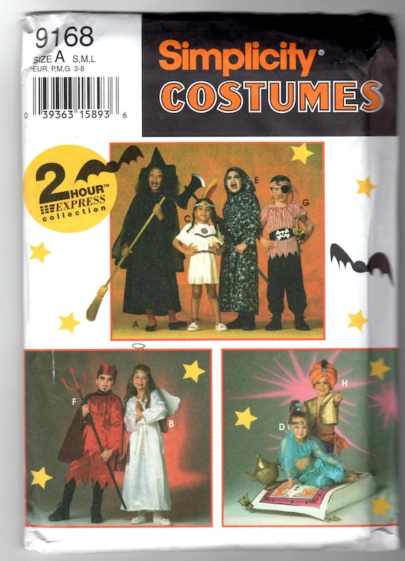 1994 UnCut Simplicity 9168 Sewing Pattern - Costume Fits Children Sizes Small, Medium, Large