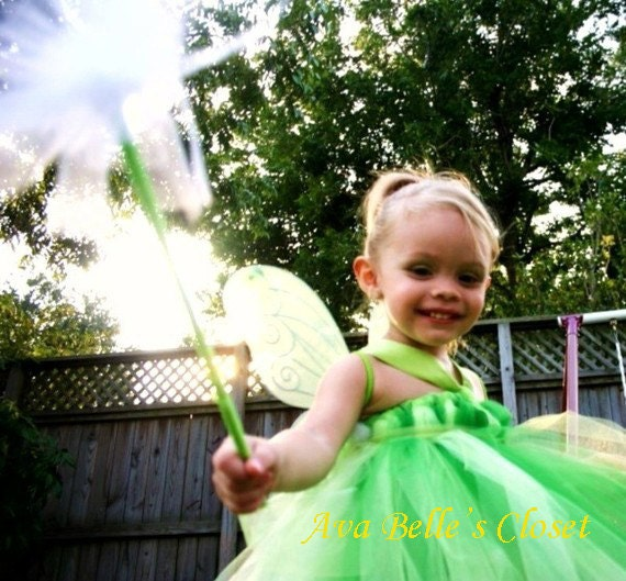 Tinker Bell Pixie Hollow Tutu Dress Costume 12M - 5T Great for Halloween Birthdays Portrait - SALE
