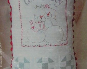 Crabapple Hill 417 Love and Joy Snow couple pillow Hand Embroidery Pattern