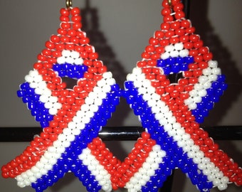 Beaded red white and blue ribbon earrings