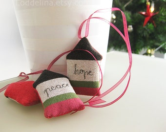 set of 3 - ornaments Peace Hope Love in pink white green and chocolate brown canvas