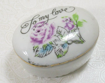 Purple Roses Porcelain Trinket Ring Box My Love Vintage Ringbox