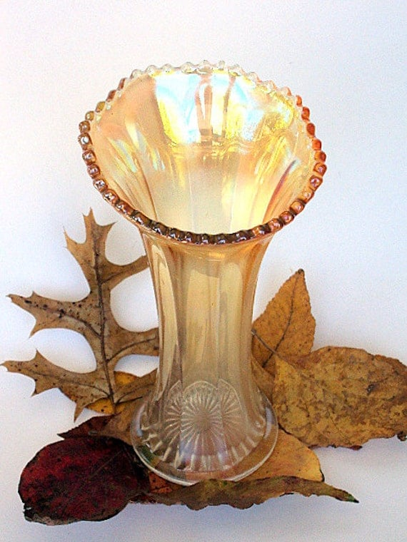 Vintage Opalescent glass Vase, 1940s, Dugan Dark to Light Marigold with Thumbprint Panels and beaded Rim   I Take CREDIT CARDS